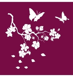 Silhouette twig cherry blossoms vector