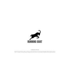 Simple running fast goat silhouette logo design vector
