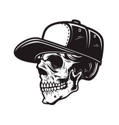 skull in baseball cap in engraving style design vector image