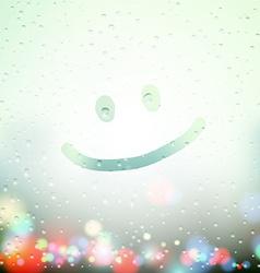 smile drawn on Sweaty Window vector image