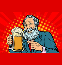 Smiling old man with a mug of beer foam vector