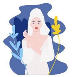 Spa girl-pretty girl in towel relaxing with towel vector