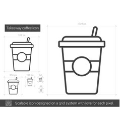 Takeaway coffee line icon vector