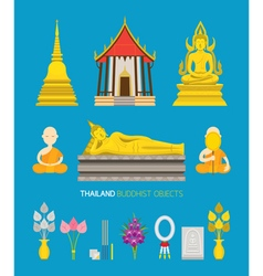 Thailand Buddhist Objects Set vector