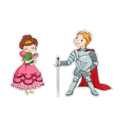 The little princess and the little knight vector image