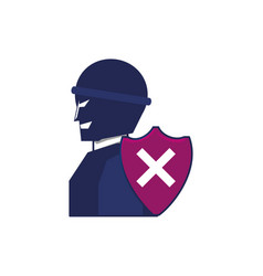 thief man with shield security vector image