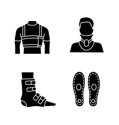 Trauma treatment glyph icons set vector