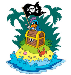 Treasure island with pirate parrot vector