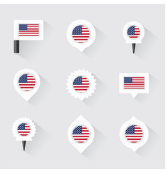 United states of american flag and pins for vector