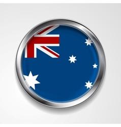 Abstract button with metallic frame Australian vector image vector image