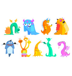 colorful flat set of funny monsters vector image