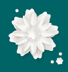 Flower with leaves made of paper sheet isolated vector