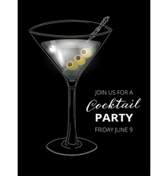Hand drawn cocktail in martini glass with olives vector image