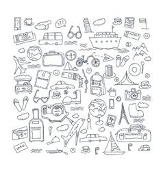 Hand drawn travel tourism doodles elements vector image vector image