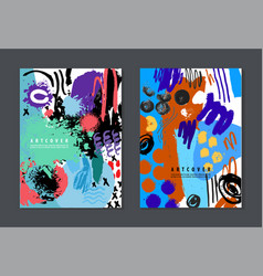 set of colorful artistic creative cards vector image