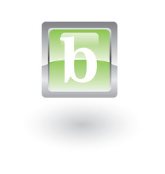 square glossy icon letter b vector image