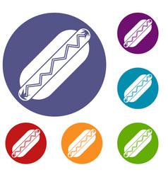 bun and sausage icons set vector image vector image