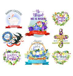 easter holiday symbols cartoon icon set design vector image