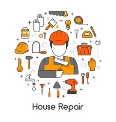 House Repair Renovation Line Art Thin Icons Set vector image