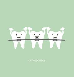 orthodontics teeth or dental braces vector image