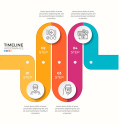 4 steps winding colorful timeline infographic vector image vector image