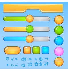 Game UI elementsColorful buttons and icons vector image vector image