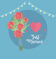just married celebration with bouquet and hearts vector image vector image