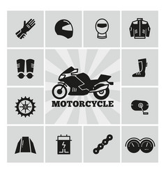 moto parts motorcycle accessories silhouette icons vector image