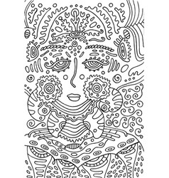 alien goddess girl doodle coloring page for vector image