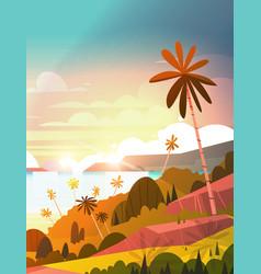 amazing sunset on seaside tropical landscape vector image