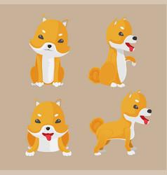 shiba inu dog cartoon set vector image vector image