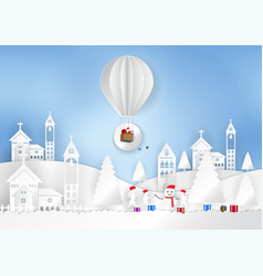 Winter season with snowflake with santa claus on vector
