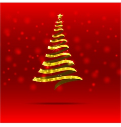 011 Gold ribbon christmas tree vector image