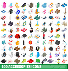 100 accessories icons set isometric 3d style vector image