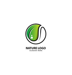 Abstract green leaf logo icon design landscape vector