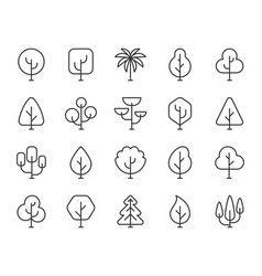 Abstract tree simple black line icons set vector