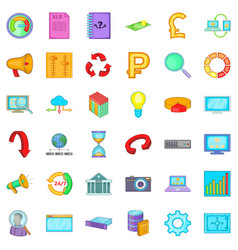 accessories icons set cartoon style vector image