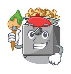 Artist cartoon deep fryer in the kitchen vector