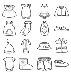 baby clothes icons setclothing for girl vector image