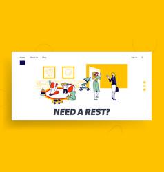 babysitter and nanny occupation website landing vector image