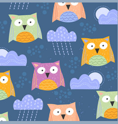 background pattern cute little owls with clouds vector image