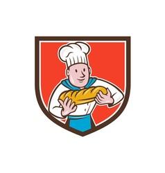 Baker holding bread loaf shield cartoon vector
