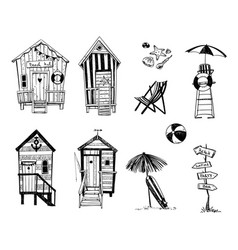 beach huts set life icons vector image