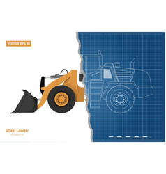 blueprint wheel loader top side front view vector image