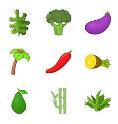 Botany icons set cartoon style vector
