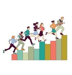 Business people run on graph diagram vector