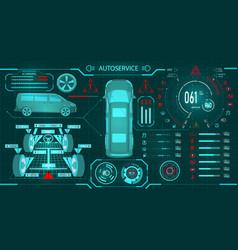 Car service scanning a minibus diagnostic vector