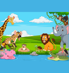 Cartoon african landscape with wild animals vector