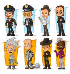 Cartoon cool policeman and gangster character set vector