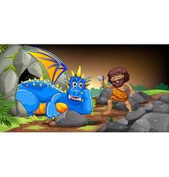 Caveman and dragon vector